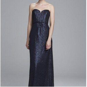 Amsale Black Sequins Formal Bridesmaid Dress